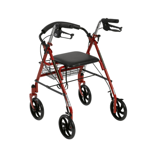 Four Wheel Walker Rollator with Fold Up Removable Back Support