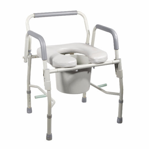Drive Medical Steel Drop Arm Bedside Commode With Padded Seat And Arms