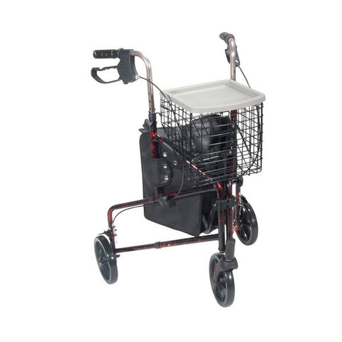3 Wheel Rollator with Basket Tray and Pouch - CSA Medical Supply