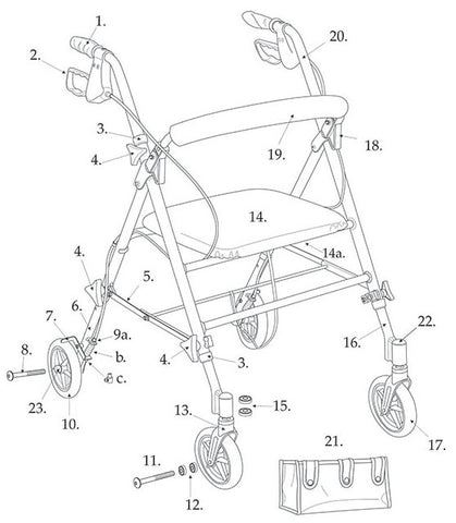 "ACS Aluminum Rollator, 6"" Casters Replacement Parts"