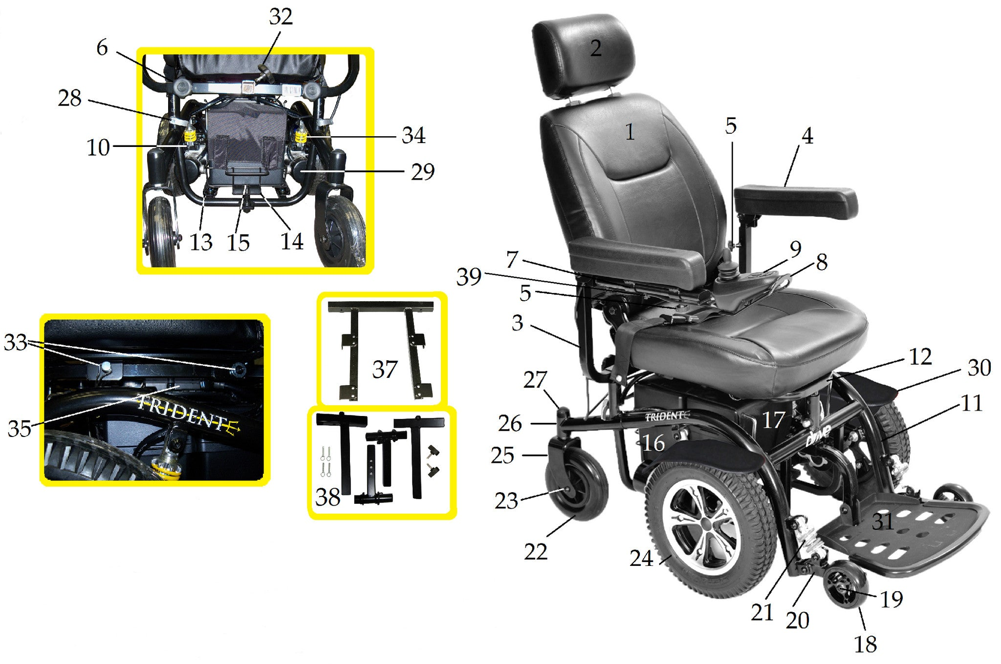 Spare parts on wheelchairs 22