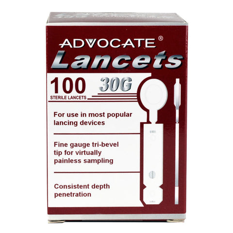 Advocate Thin Lancets 30G 100/Box - CSA Medical Supply