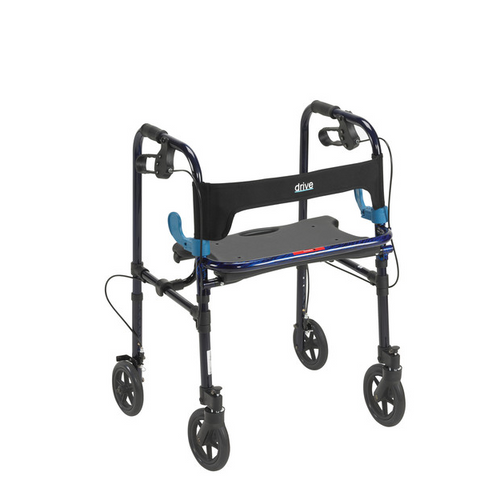 "Clever Lite Walker Rollator, Adult, 8"" Wheels, Flame Blue - CSA Medical Supply"