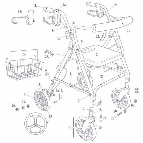 "Replacement Parts For D-Lite Rollator with Removable 8"" Casters"