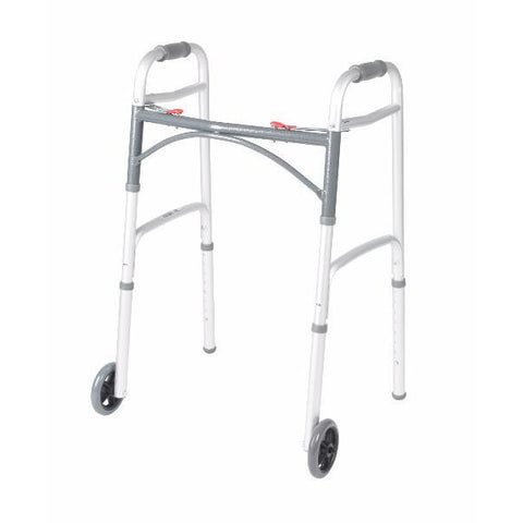 "Deluxe Two Button Folding Walker with 5"" Wheels - CSA Medical Supply"