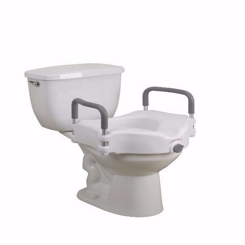 Elevated Raised Toilet Seat With Removable Padded Arms By