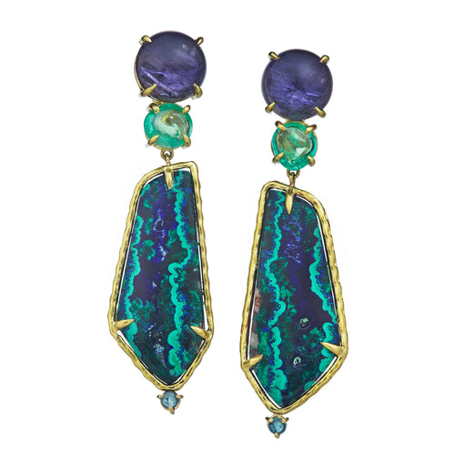 Iolite, emerald, azurite malachite, tourmaline earrings set in 18k yellow gold