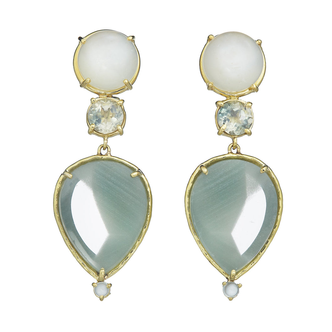 Dailies collection, white moonstone, faceted round green sunstone, phantom quartz with chloride, aquamarine earrings set in 18k yellow gold