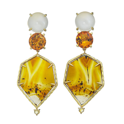 Dailies Collection, white moonstone, faceted golden citrine, montana agate, carnelian earrings set in 18k yellow gold
