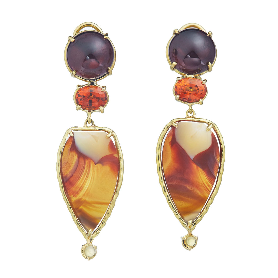 Dailies Collection, Red garnet, spessartite garnet faceted oval, montana agate, citrine earrings set in 18k yellow gold