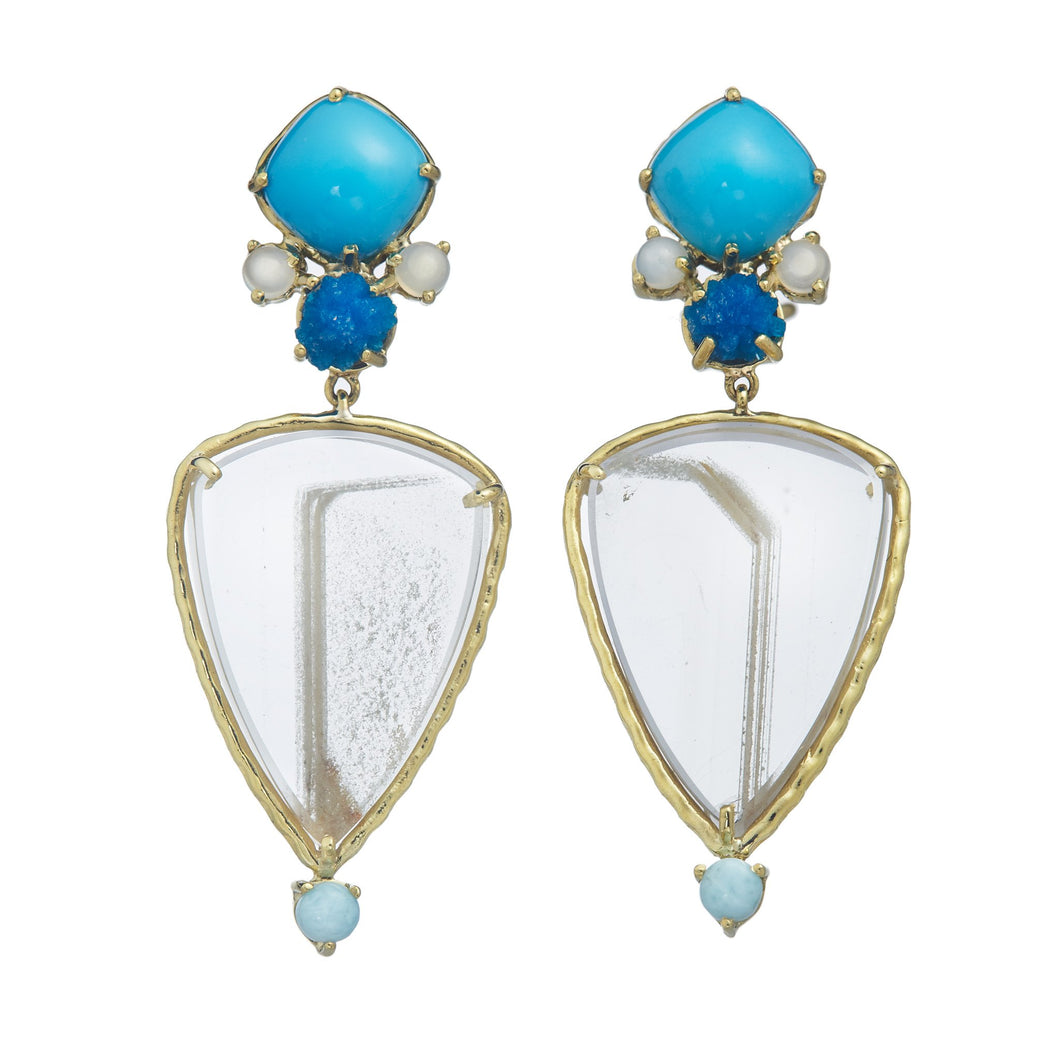 Dailies Collection, Cushion cut turquoise, Moonstone, Blue crystal cavansite, phantom quartz w/ chloride, larimar earrings set in 18k yellow gold
