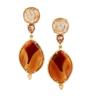 Golden rutilated quartz, pear-shaped caramel-colored diamonds, agate, citrine