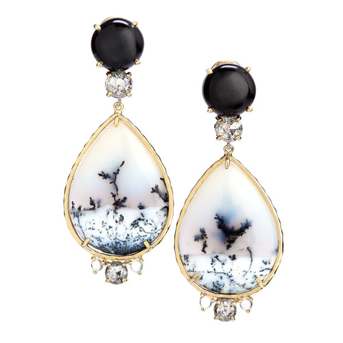 earrings with black star diopside, salt & pepper rose-cut diamonds, Snowbowl Chalcedony, and Rainbow moonstone.