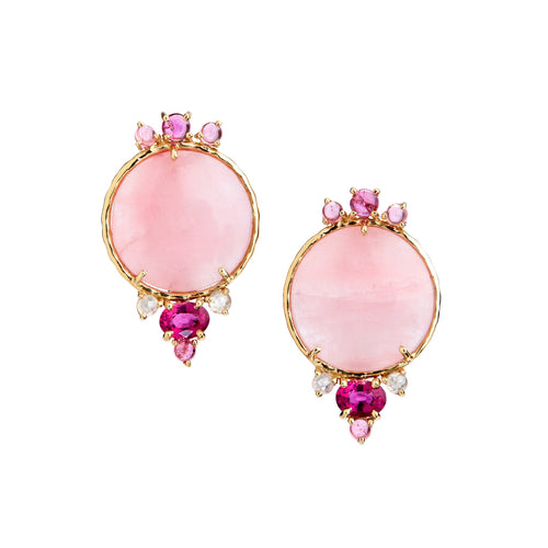 Earclips with pink tourmaline, petalite and rose-cut diamonds