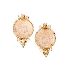 Earclips with fossilized coral, citrine, yellow, rose-cut diamonds