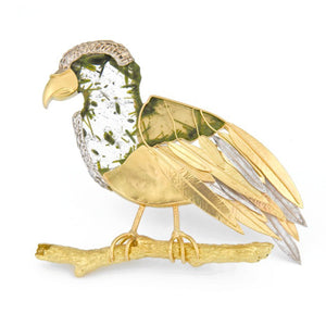 One of a Kind Bird brooch in 18k gold with epidote-in-quartz slice