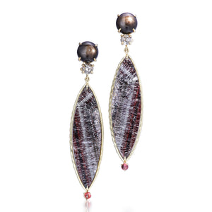 One of a Kind black star sapphire, rose-cut diamond and hematite rutile earrings