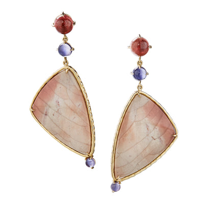 one of a kind earring with jasper, pink tourmaline and iolite