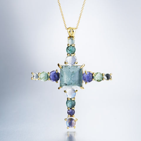 blue and green cabochon large cross pendant in 18k yellow gold