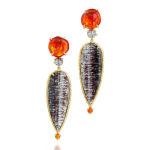One of a kind earrings with orange jelly opal, rose-cut diamond and rutilated quartz