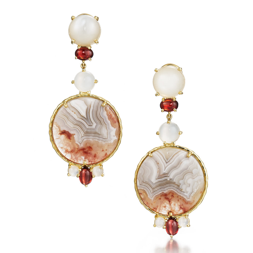 One of a kind moonstone, garnet and agate earrings