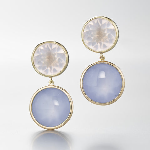 rose quartz & chalcedony 18k yellow gold