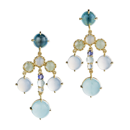 Chandelier Earrings with cabochons of green tourmaline and aquamarine in 18k yellow gold