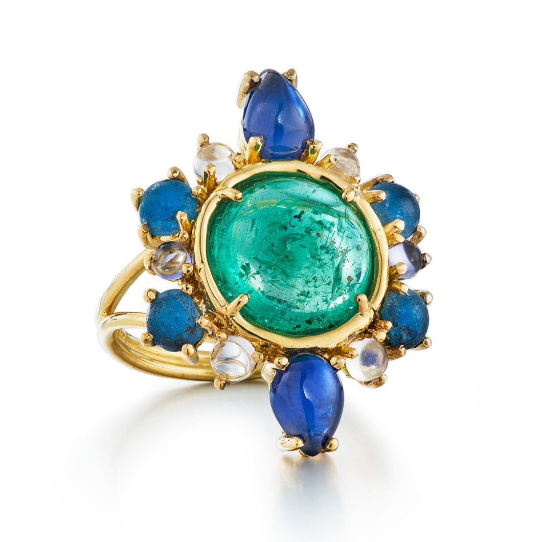 one of a kind emerald, blue sapphire, diamond, apatite, moonstone and iolite ring in 18k yellow gold