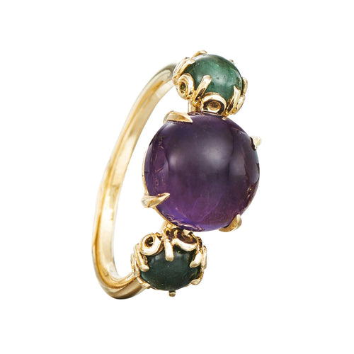 Czarina Three-Stone Ring, Amethyst