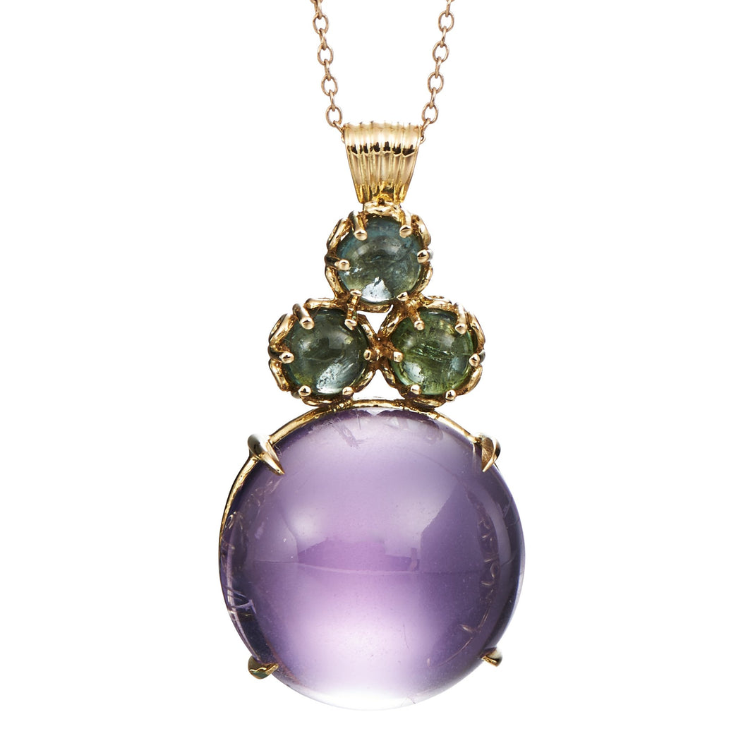 Large cabochon amethyst cluster pendant with green tourmaline