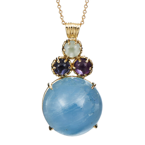 Large Santa Maria aquamarine cluster pendant with aquamarine, iolte and amethyst