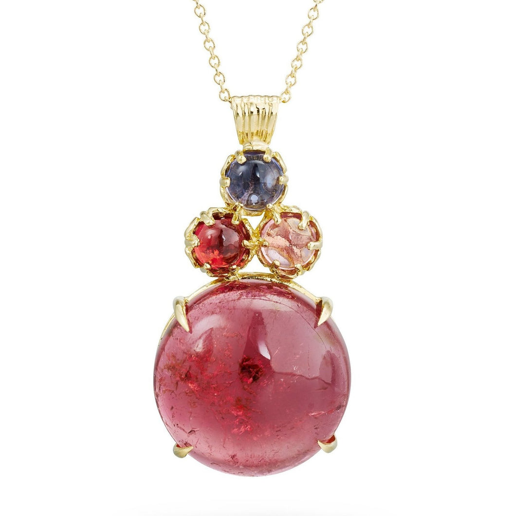 large cabochon pink tourmaline cluster pendant in 18k yellow gold