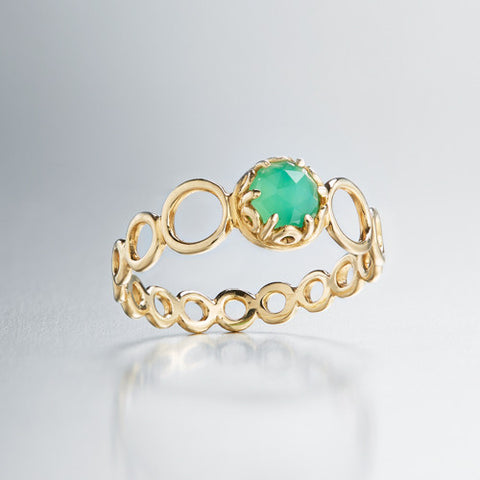 Czarina delicate stacking ring chrsyoprase and 18k yellow gold
