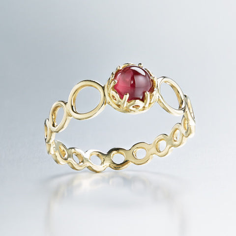 Czarina delicate stacking ring red garnet and 18k yellow gold