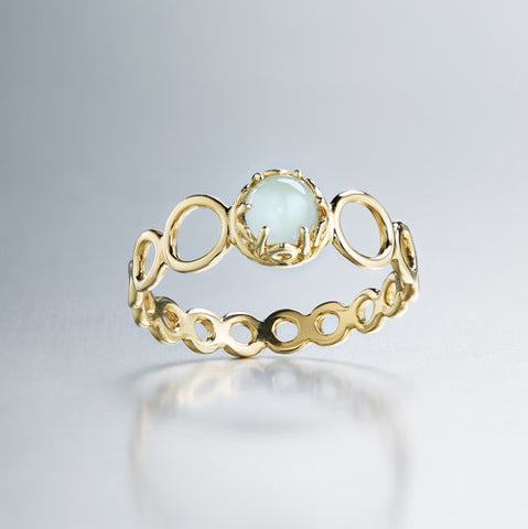 Czarina delicate stacking ring aquamarine and 18k yellow gold