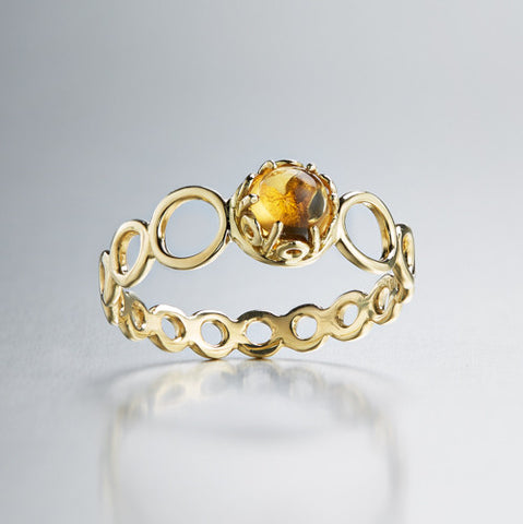 Czarina delicate stacking ring citrine and 18k yellow gold