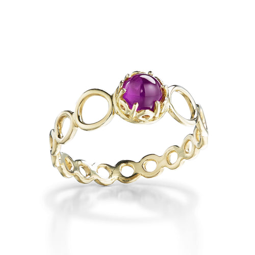 dainty stacking cabochon amethyst gemstone rings in 18k yellow gold