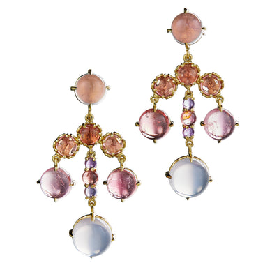 czarina chandelier earrings with pink tourmaline and rose quartz in 18k yellow gold