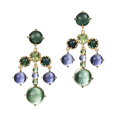 Chandelier Earrings with green tourmaline and iolite in 18k yellow gold