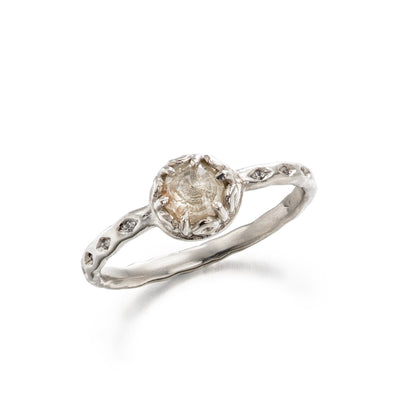 platinum engagement ring with rose cut white diamond
