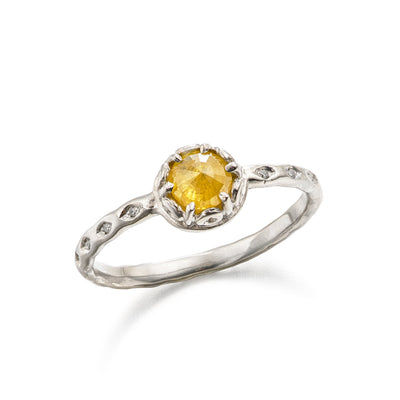 platinum engagement ring with rose cut yellow diamond