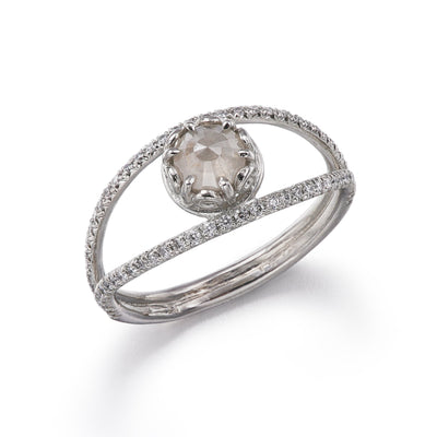Czarina Split Shank Grey Diamond Ring