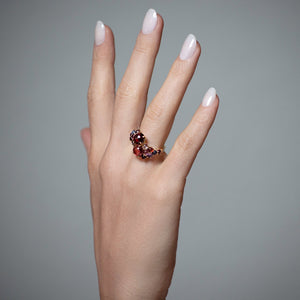 Dagny Stacking Ring, Red Garnet & Pink Tourmaline