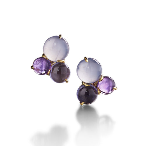 3-stone cluster stud earring with chalcedony, amethyst and iolite in 18k yellow gold