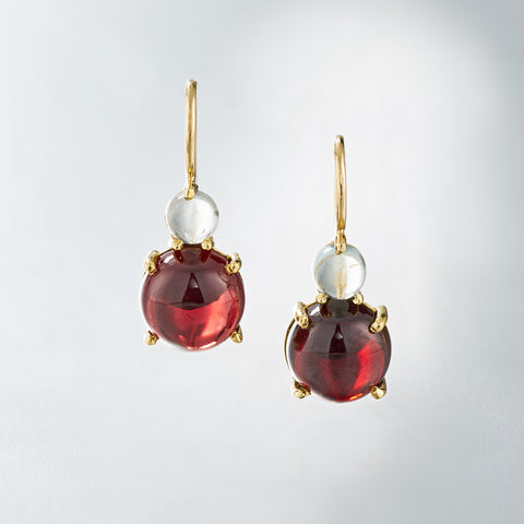 aquamarine and red garnet cabochon earrings in 18k yellow gold on a wire