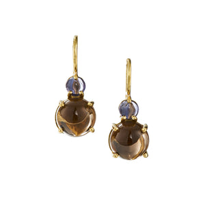 Tiny two stone earring on drop wire with iolite and smokey citrine