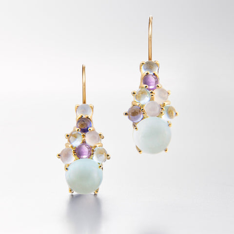 Aquamarine cluster drop earring 18k yellow gold