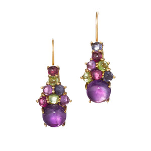 Dagny Drop Cluster Earrings, Amethyst