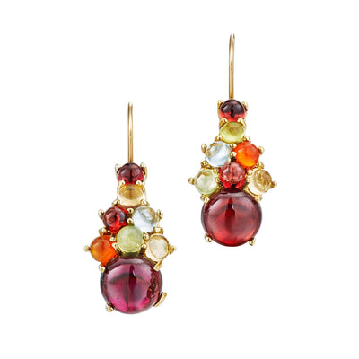 Dagny Drop Cluster Earrings, Red Garnet