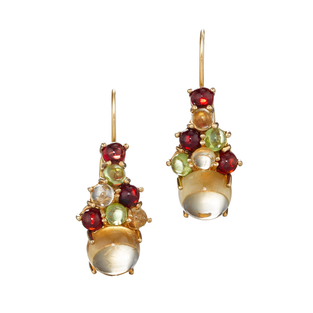 colorful cluster of gemstones on a drop wire earring